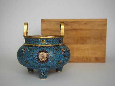 A Chinese Cloisonne 'Lotus' Tripod Censer, with Qianlong mark and wooden box
