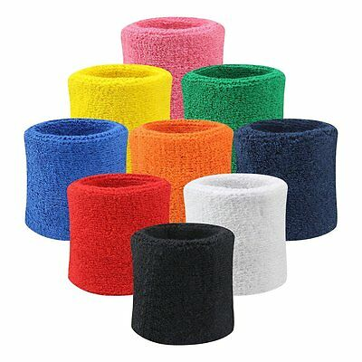 Adults Unisex Toweling Neon Colours Gym Fitness Workout Sweatband Wristband ■
