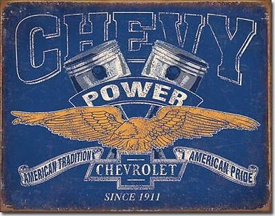 Chevrolet Chevy Power Pistons Since 1911 American Tradition Pride Tin Metal Sign