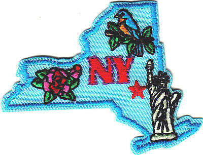 """NY""-  NEW YORK STATE SHAPE- Iron On Patch/Big Apple, Statue of Liberty, USA"