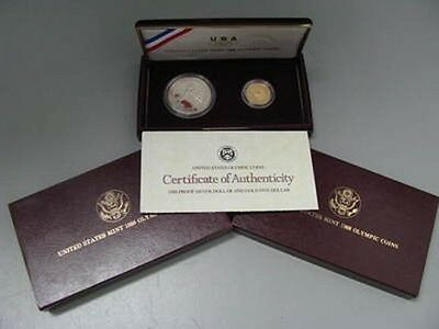 1988 Olympic 2pc Gold & Silver Proof Dollar Coin Set US Mint Commemorative