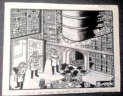 LARGE ORIGINAL ARTWORK BY RICK BROOKES (BROOK) Rare Daily Express Cartoon