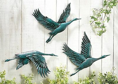 Bird In Flight Hand Painted Metal Wall Indoor And Outdoor Decor by CT Discoun...