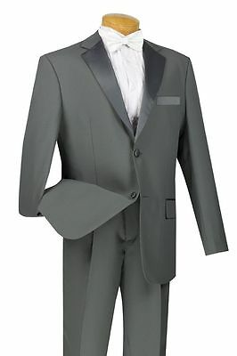 Men's Formal Tuxedo Prom Wedding Groom Suit Classic Fit Two Buttons Gray