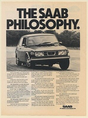 1976 Saab Philosophy It's What a Car Should Be Print Ad