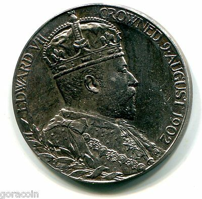Great Britain 1902 Coronation of King Edward VII, Sterling Silver 31mm