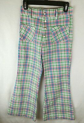 Vintage 1970's Growing Girl Pink & Green Plaid Bell Bottom Pants 12 preppi flare