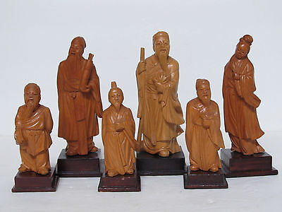Lot of Old Chinese Boxwood Carved Figurine Statues