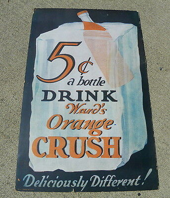 Orange Crush 1930S Cardboard Sign With Ice Cube And Bottle