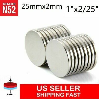 "10 25 50 100pc 25mm x 2mm 1""x1/16"" N52 Strong Disc Rare Earth Neodymium Magnet"