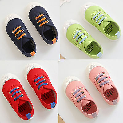 2017 Kids Boys Girls Casual Comfort Canvas Shoes Slip-On Plimsolls Sneakers