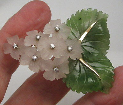 Vintage Estate Rare 14k Diamond Carved Rose Quartz Jade Flowers Leaves Brooch