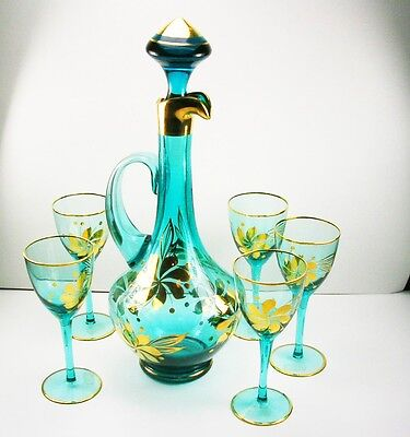 Vintage Hand Painted Bohemian Blown Glass Decanter & Glasses Set