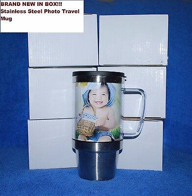 Lot of 20 Stainless Steel Photo Travel Mug, Brand New in Boxes