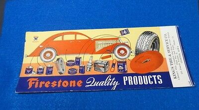 1930's Advertising FIRESTONE QUALITY PRODUCTS Ink Blotter G-500 Clinton, IA