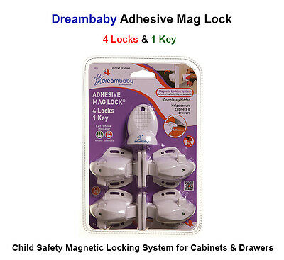 Child Safety Stick on Magnetic Lock for Kitchen Cabinets Drawers - 4 Locks 1 Key