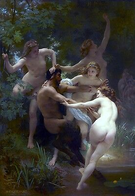 Nymphs and Satyr Painting by William-Adolpe Bouguereau Art Reproduction