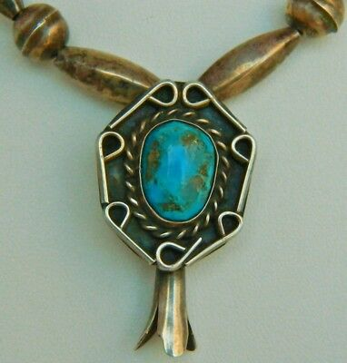 VINTAGE Navajo Sterling Sleeping Beauty Turquoise Squash Blossom Necklace 1940's