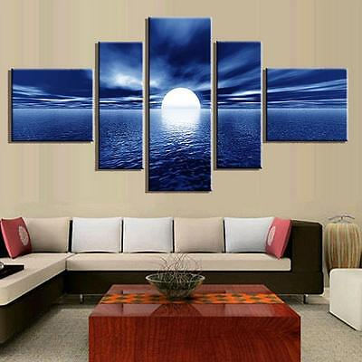 Landscape Wall Art Sunset Blue Sea Home Decor Modern Canvas Print Painting 5PCS