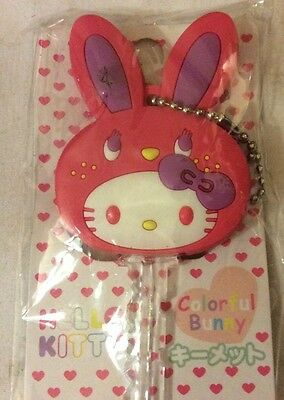 Sanrio Hello Kitty colorful bunny  White, Pink Soft Rubber Key Cap 2010 japan