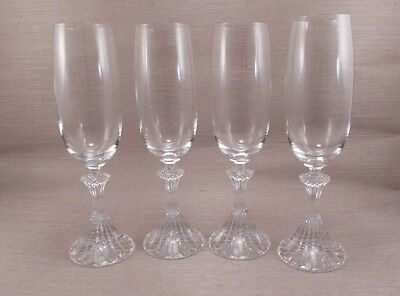 Mikasa Crystal THE RITZ Flute Fluted Champagnes - Set of Four