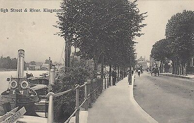 High Street & River, Kingston-upon-Thames, Surrey, old postcard, posted 1911