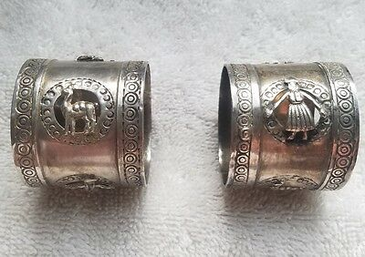 2 Vintage Peruvian Napkin Ring Holders 925 Sterling Silver Peru Signed GV 50g