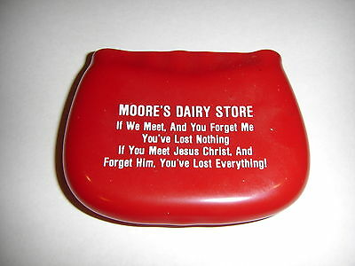 Moore's Dairy Store Advertising Change Purse - Red with Religious Verse