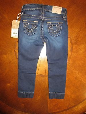 Toddler True Religion Destroyed F Terry Twisted Seam Runner Denim Jogger 3T Nwt