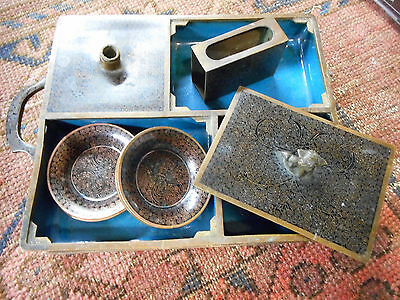 Very old  Chinese smoking set Champleve and blue enamel copper brass