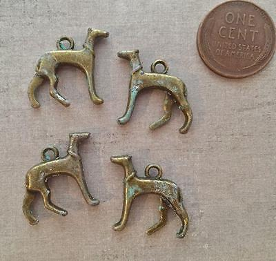 Old Stock 18 x 20mm Aged Metal Dog Charms 4