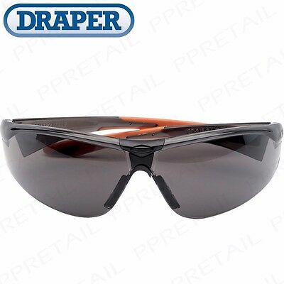 DRAPER SMOKED ANTI-SCRATCH SAFETY SPECTACLES Specs Glasses UV Protect Lab Build