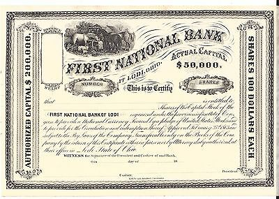First National Bank At Lodi, Ohio.......1800's Unissued Stock Certificate