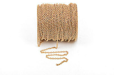 1 yd (3 ft) Gold Plated Cable Chain, Oval Links are 2.5x2mm unsoldered, FCH0247a