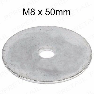 X-LARGE 5-100x M08 50mm STEEL REPAIR PENNY WASHERS To Fit Metric Bolts & Screws