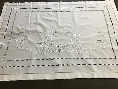 Antique Cotton White On White Embroidered Pillow Lay Overs 28 X 40