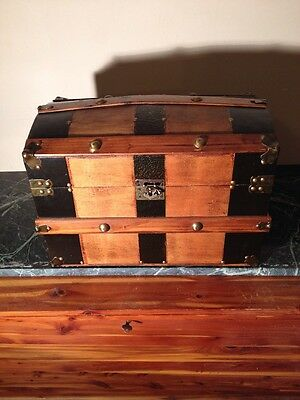 "Antique Vintage Dome Humpback Wood Brass Banded Victorian Trunk 18"" Length"