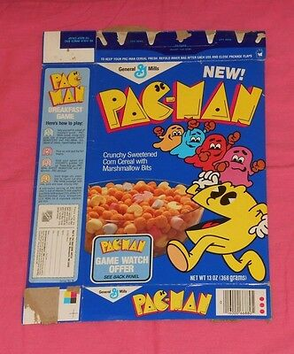 vintage General Mills PAC-MAN CEREAL BOX (box has game watch offer)