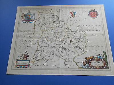 100% Original Large Brecknockshire Map By J Blaeu C1646 Hand Coloured