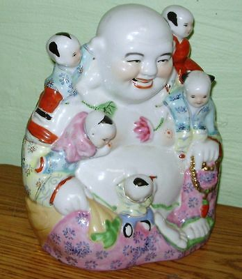 "Vintage Chinese 9-1/2"" Porcelain Famille Rose Happy Buddha w 5 Children Statue"