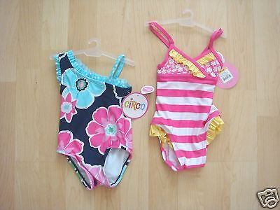 NWT 2 pc Baby Girl CIRCO Swimsuits UPF+50 Navy Floral Pink Stripe S/M 6-12 Month