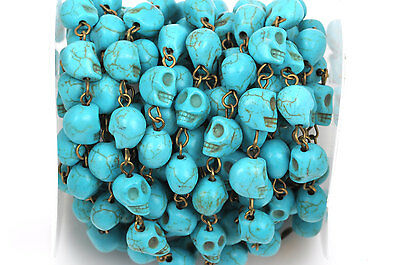 1yd TURQUOISE HOWLITE SKULL Rosary Chain, bronze, 10mm round beads fch0370a
