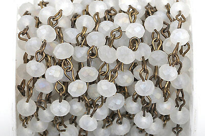 1yd FROSTED WHITE Crystal Rondelle Rosary Chain, bronze, 6mm beads fch0432a