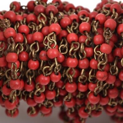 13ft RED Howlite Rosary Chain, bronze, 4mm round stone beads, fch0485b