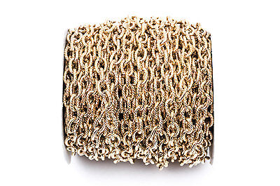1yd Gold Plate Cable Chain, Oval Links 9x6mm unsoldered, rope texture fch0220a