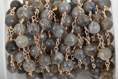 1yd LABRADORITE GEMSTONE Rosary Chain, Lt Gold links, 8mm round beads fch0578a