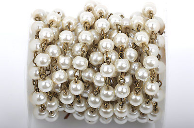 1yd Ivory Cream Pearl Rosary Chain, bronze, 10mm round glass beads fch0427a