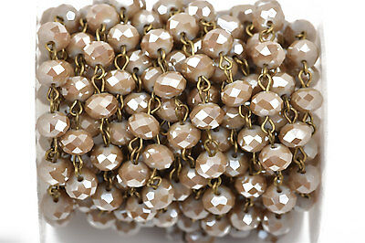 13ft CARAMEL BROWN TAUPE Crystal Rondelle Rosary Chain, bronze, 8mm  fch0493b