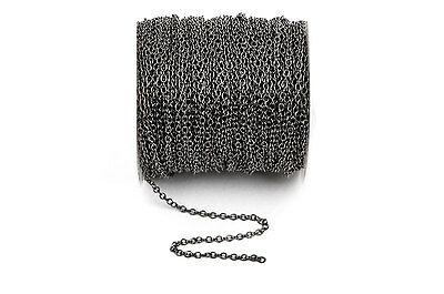 50 yd gunmetal Black Cable Chain, Oval Links 2.5x2mm unsoldered, fch0249b