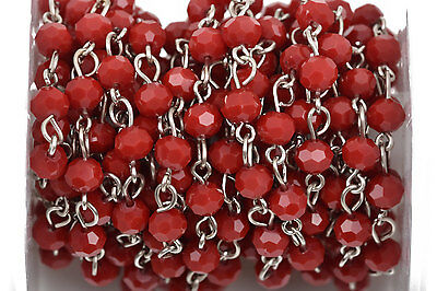 1yd Dark Red Crystal Rosary Chain, Silver, 6mm round crystal beads fch0488a